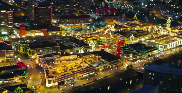 Plaza Lighting Ceremony from Helicopter View