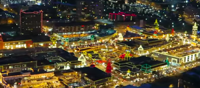 View of The Plaza Lights in Kansas City while in Helicopter